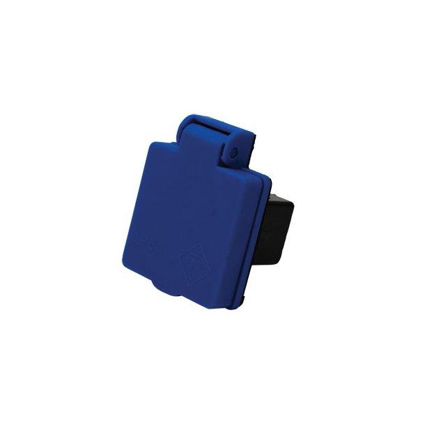 Indbygningsudtag til tavler - DK 230V med jord - blå