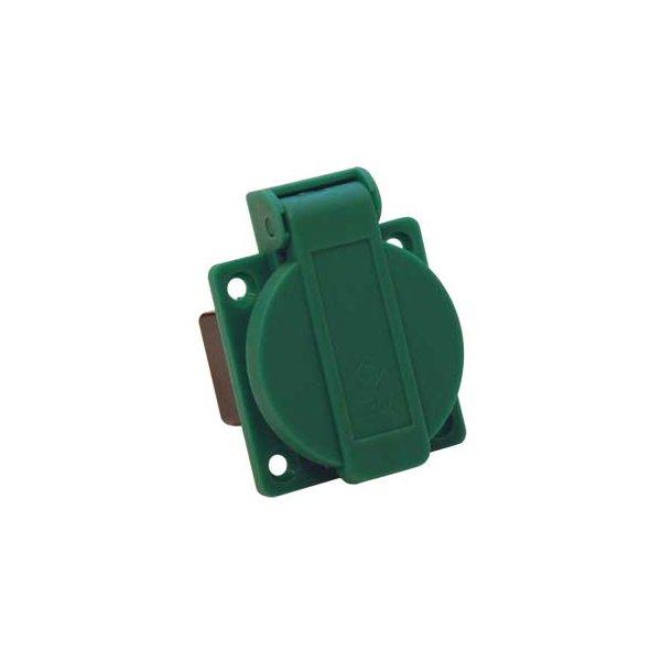 Indbygningsudtag til tavler - DK 230V med jord - grøn