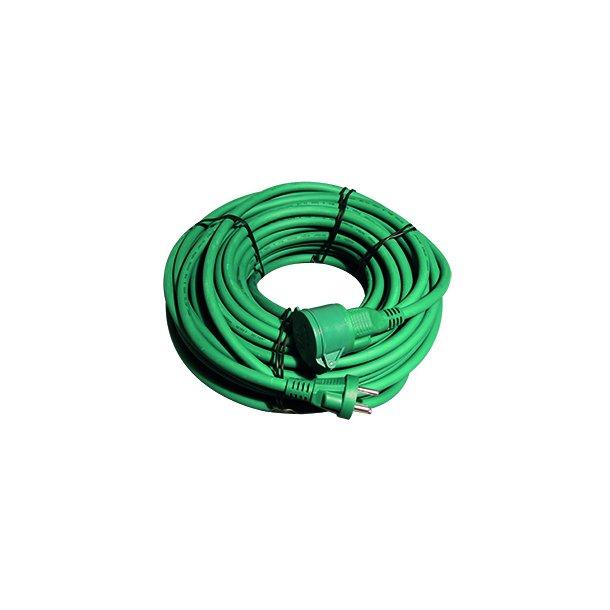 Kabelsæt 1 - DK stik/mellemled - grøn - 25 mtr. - 3G1,5