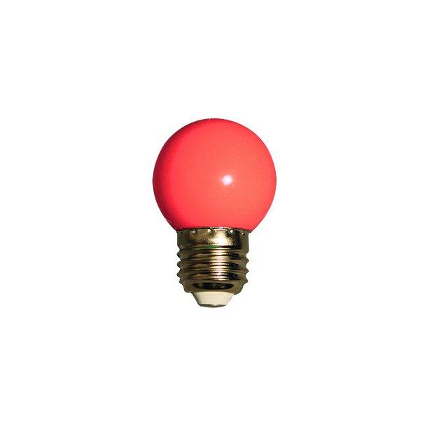 Lyskilde E27 1W LED for LEDlyskæde - farve Rød
