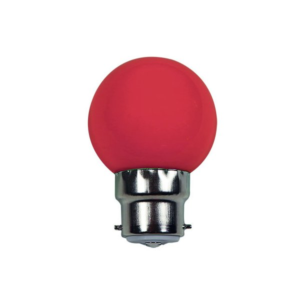 Lyskilde B22 1W LED for LED lyskæde - farve RØD