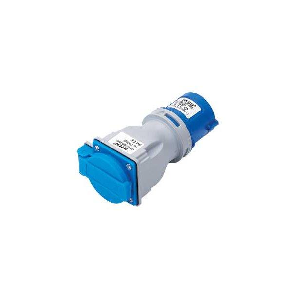 Adapter CEE stikprop 2P+J 230V/16A - DK-udtag m/jord