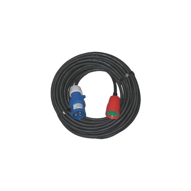 Kabelsæt 5 - 25 mtr. Blå Cee stik - DK mellemled R/G