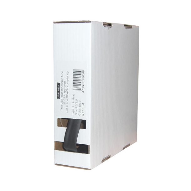 Krympeflex æske - LINK 24,0/8,0 mm - m. lim - sort - 1,5 mtr